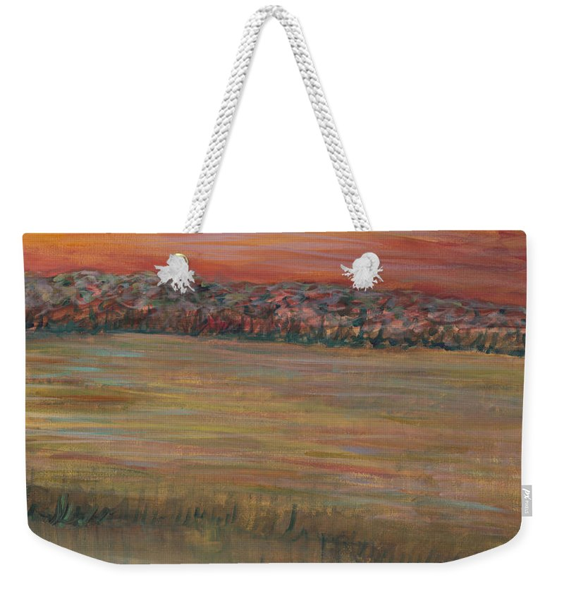 Paintings Weekender Tote Bag featuring the painting Sunrise Over The Marsh Part II by Nadine Rippelmeyer