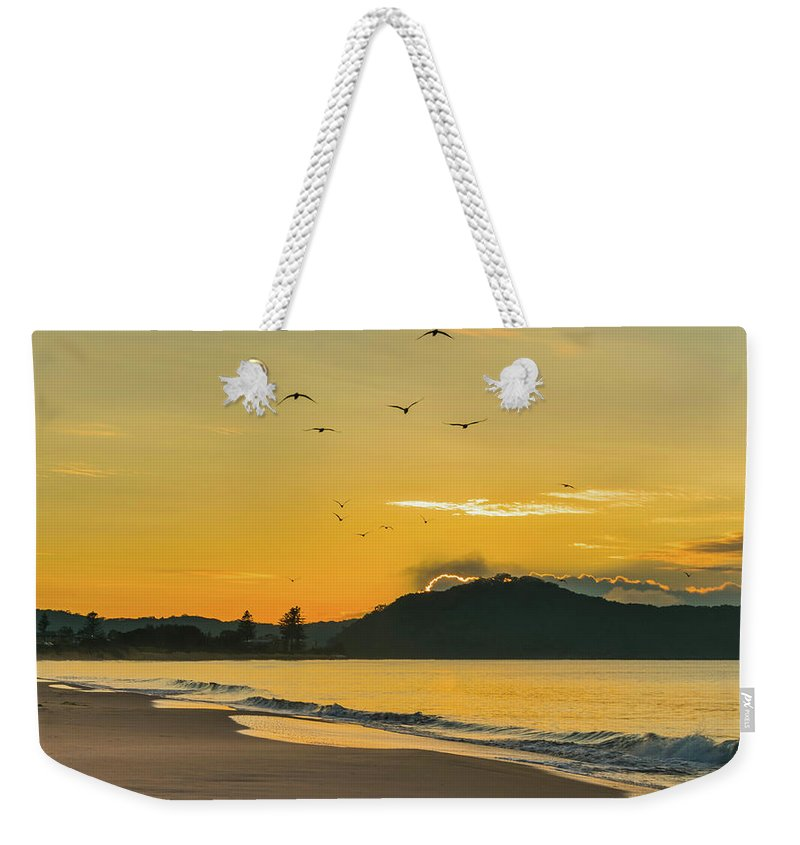 Umina Beach Weekender Tote Bag featuring the photograph Sunrise Seascape With Mountain And Birds by Merrillie Redden