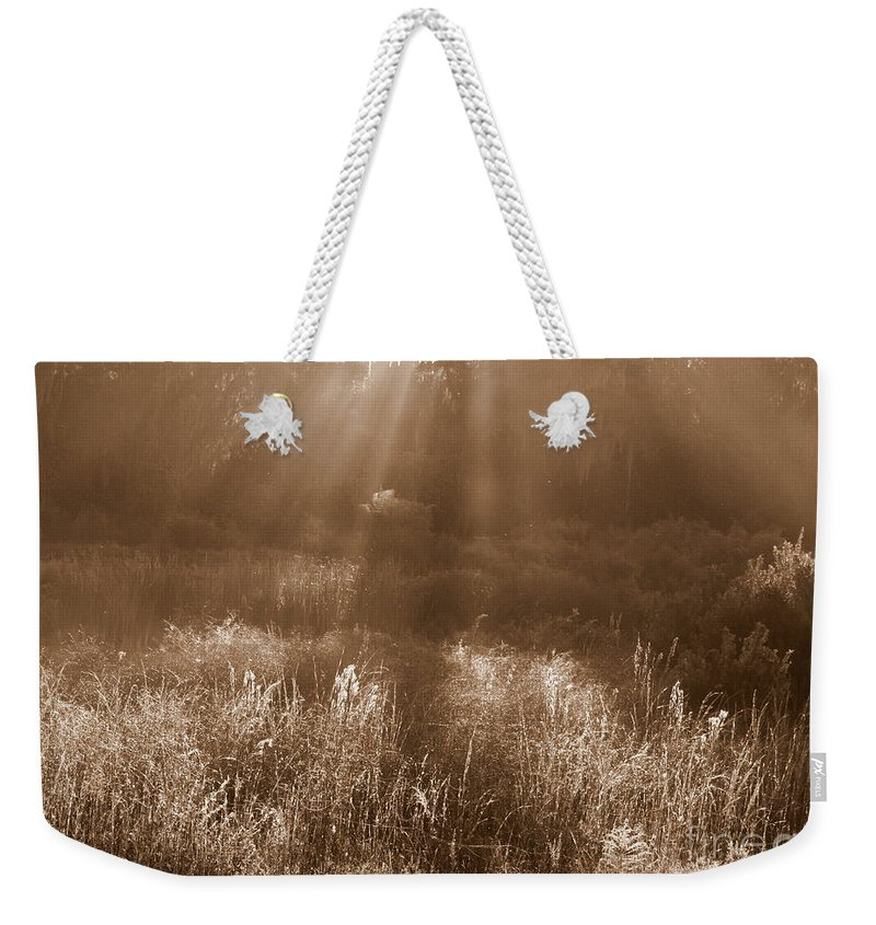 Sepia Weekender Tote Bag featuring the photograph Sunrise Sepia by Carol Groenen