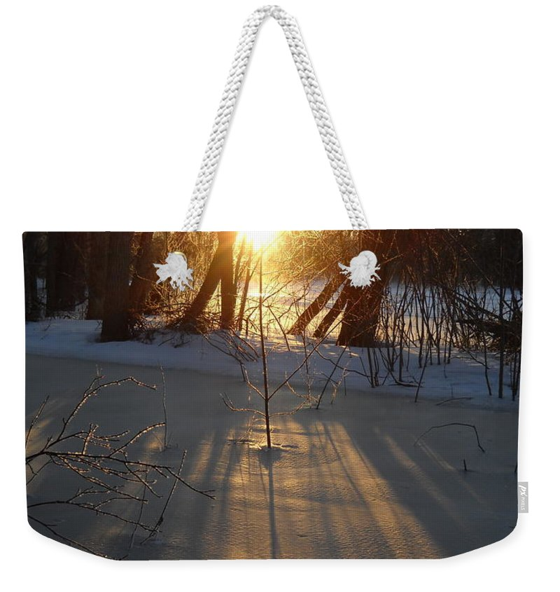 Sunrise Weekender Tote Bag featuring the photograph Sunrise Shadows On Ice by Kent Lorentzen