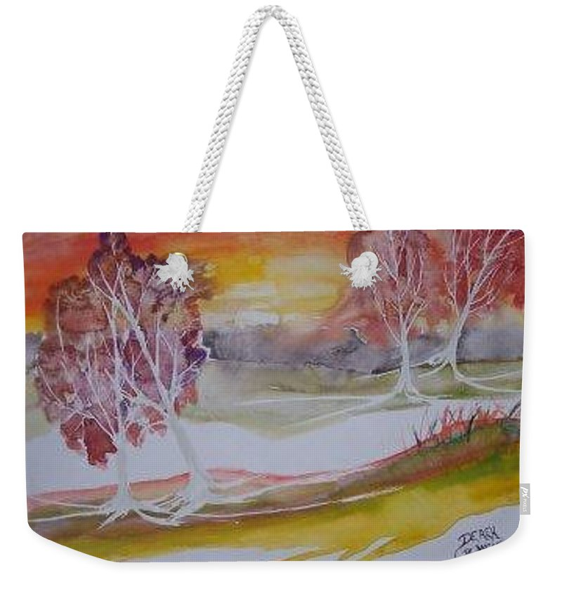 Impressionistic Weekender Tote Bag featuring the painting Sunrise Surreal Modern Landscape Painting Fine Art Poster Print by Derek Mccrea