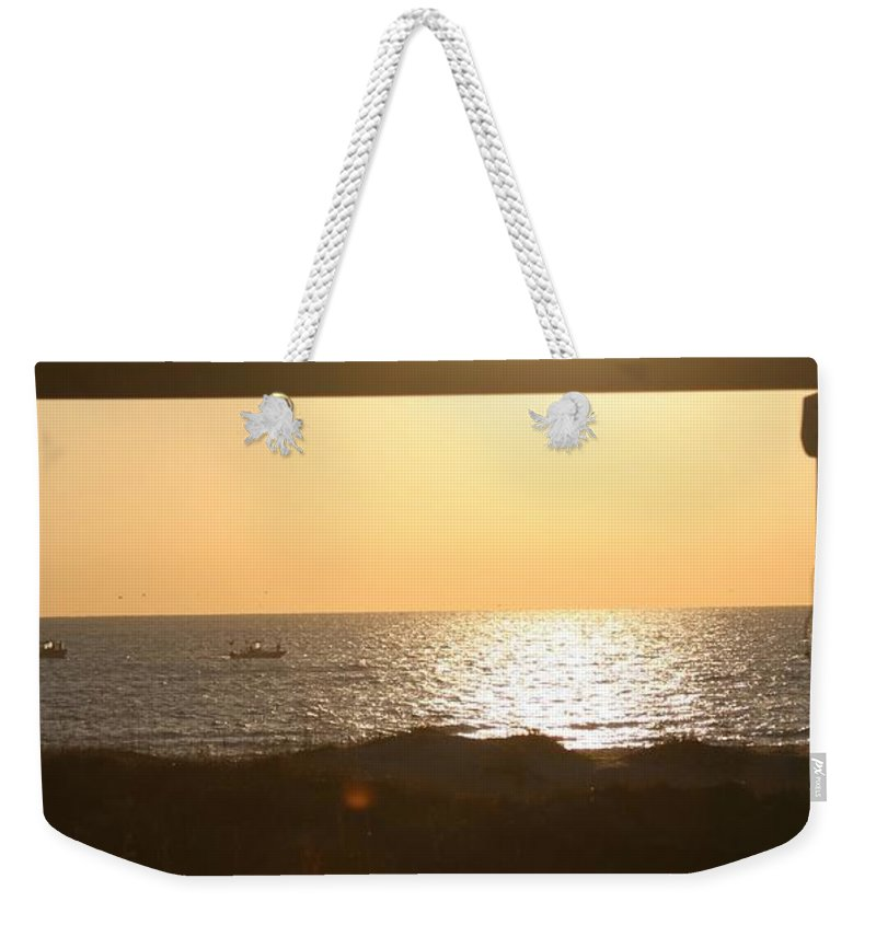 Sunrise Weekender Tote Bag featuring the photograph Sunrise Through The Pavilion by Nadine Rippelmeyer