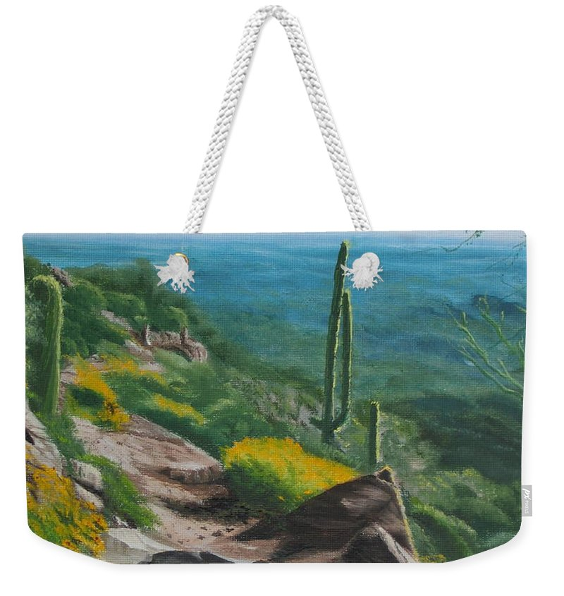 Landscape Weekender Tote Bag featuring the painting Sunrise Trail by Lea Novak