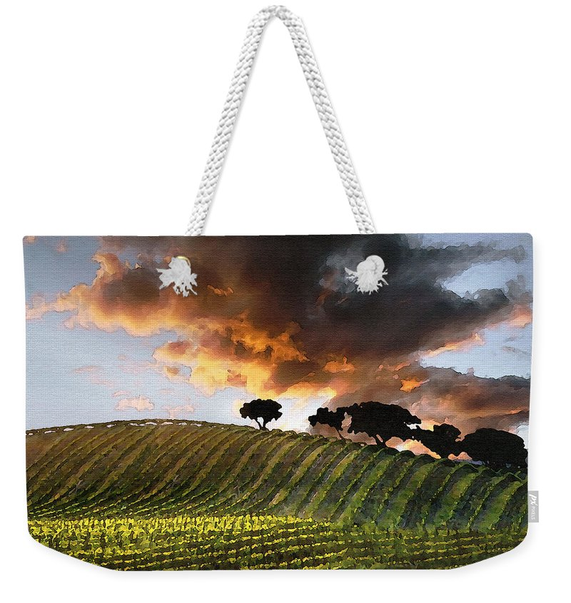 Vineyard Weekender Tote Bag featuring the photograph Sunrise Vineyard by Sharon Foster