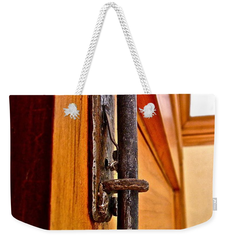 Photograph Of Hardware Weekender Tote Bag featuring the photograph Sunroom Hardware by Gwyn Newcombe