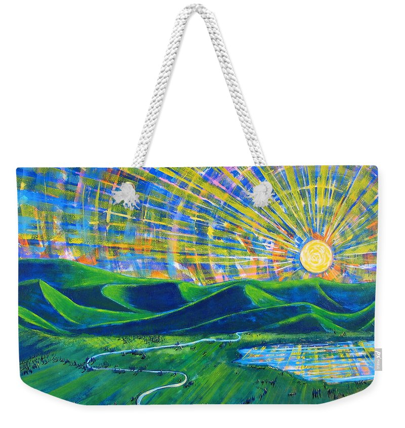 Sun Weekender Tote Bag featuring the painting Sunscape by Rollin Kocsis