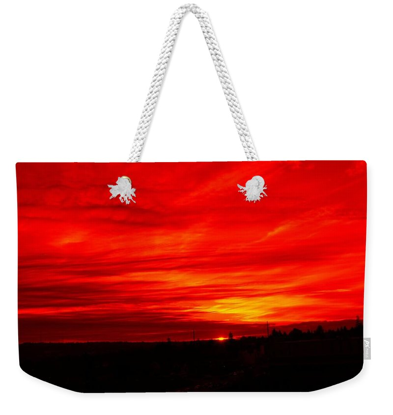 Seattle Weekender Tote Bag featuring the digital art Sunset 2 by Tim Allen