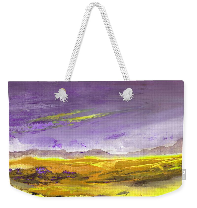 Landscapes Weekender Tote Bag featuring the painting Sunset 30 by Miki De Goodaboom