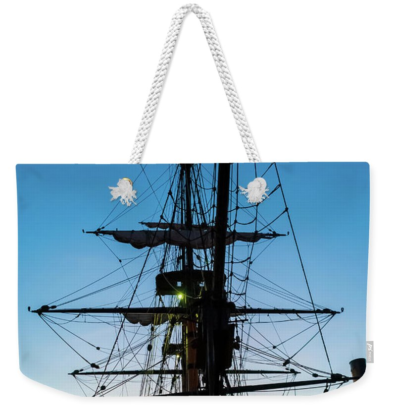 Boat Weekender Tote Bag featuring the photograph Sunset Ahoy by Pamela Williams