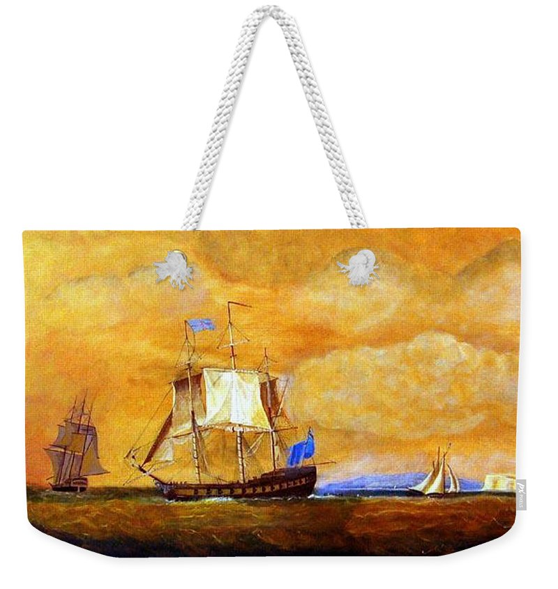 Sunset Weekender Tote Bag featuring the painting Sunset And Ships by Richard Le Page