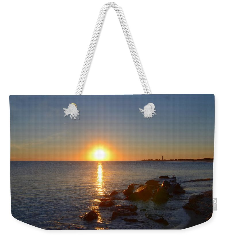 Sunset Weekender Tote Bag featuring the photograph Sunset At Cape May Beach by Bill Cannon