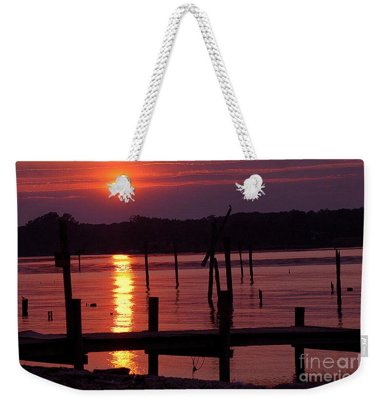 Clay Weekender Tote Bag featuring the photograph Sunset At Colonial Beach by Clayton Bruster