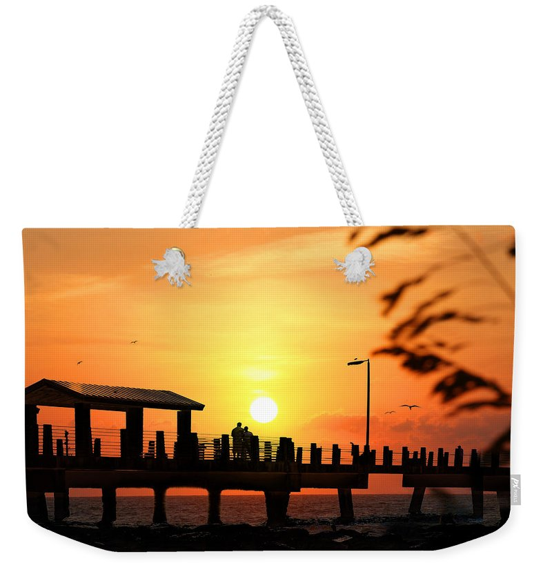 Fort De Soto Weekender Tote Bag featuring the photograph Sunset At Fort De Soto Fishing Pier Pinellas County Park St. Petersburg Florida by Mal Bray