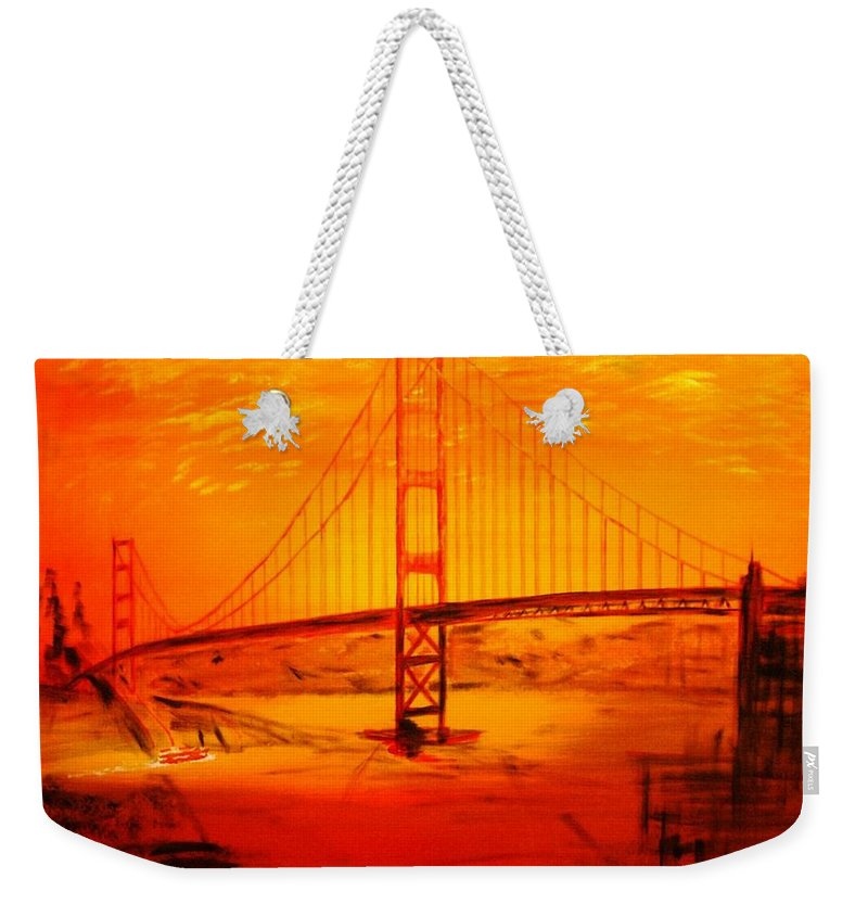 Sunset At Golden Gate Weekender Tote Bag featuring the painting Sunset At Golden Gate by Helmut Rottler