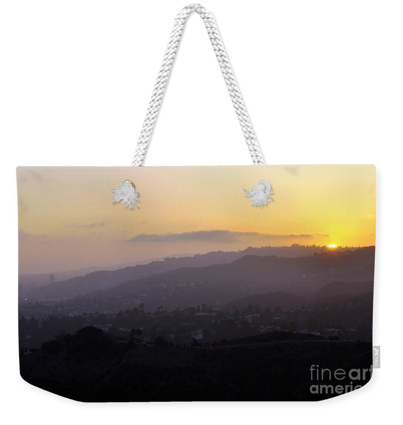 Clay Weekender Tote Bag featuring the photograph Sunset At Griffeth Observatory by Clayton Bruster