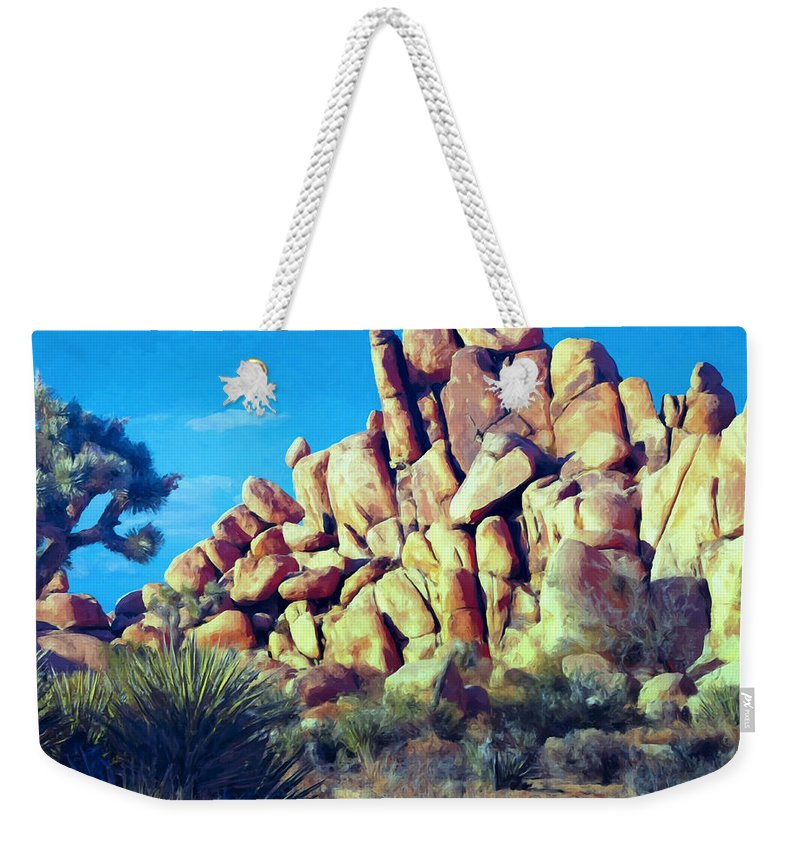 Sunset Weekender Tote Bag featuring the painting Sunset At Joshua Tree by Dominic Piperata