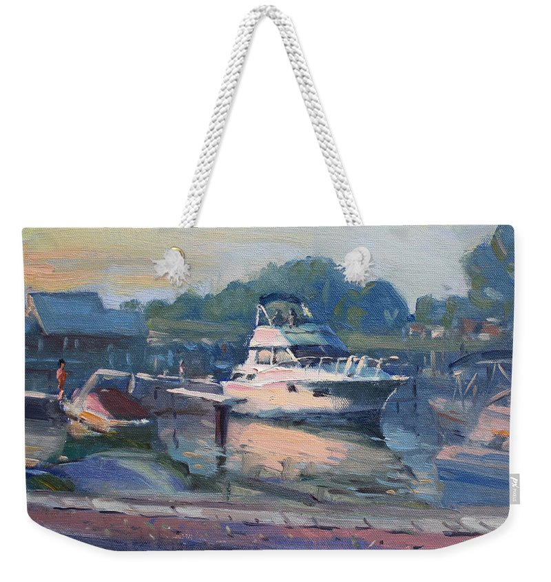 Boats Weekender Tote Bag featuring the painting Sunset At Kellys And Jassons Boat by Ylli Haruni