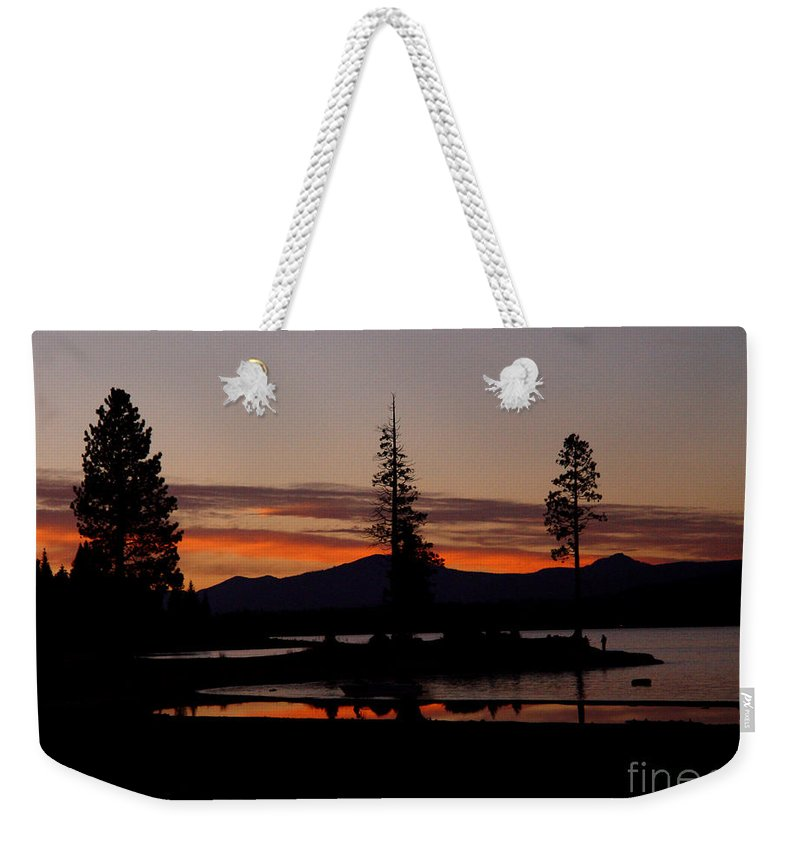Lake Almanor Weekender Tote Bag featuring the photograph Sunset At Lake Almanor 02 by Peter Piatt