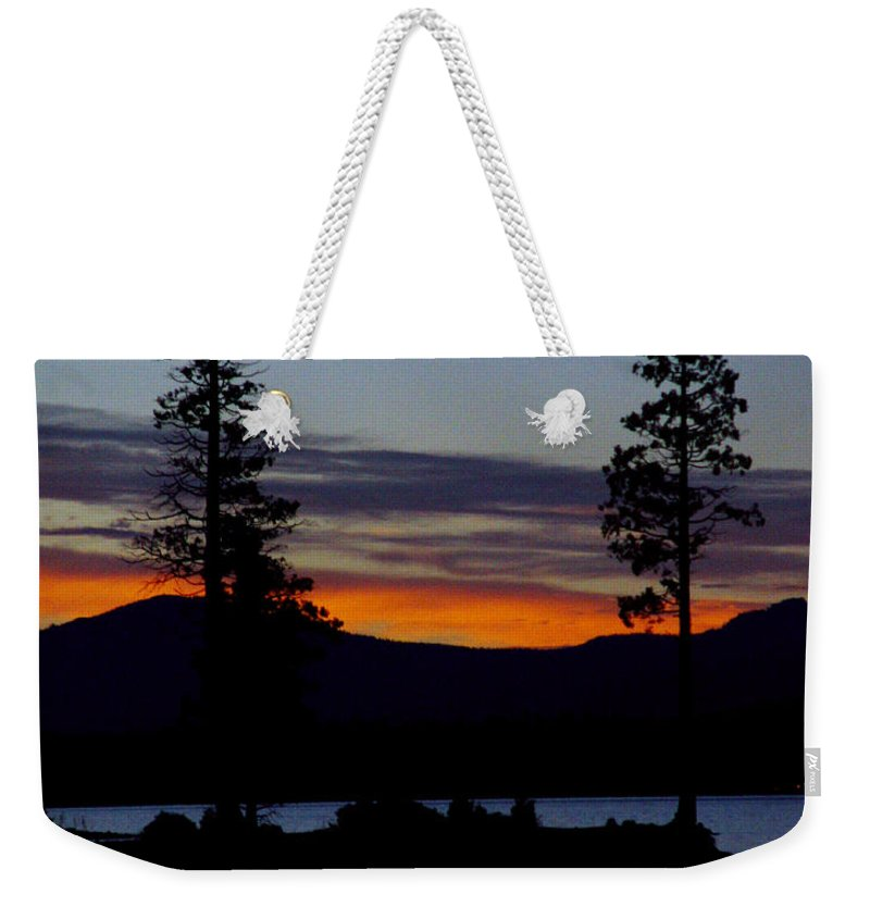 Lake Almanor Weekender Tote Bag featuring the photograph Sunset At Lake Almanor by Peter Piatt