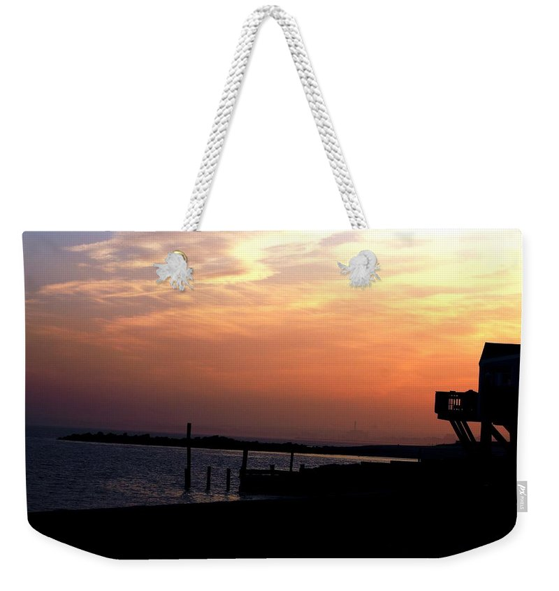 Sunset Weekender Tote Bag featuring the photograph Sunset At Lordship Beach by Donna Walsh