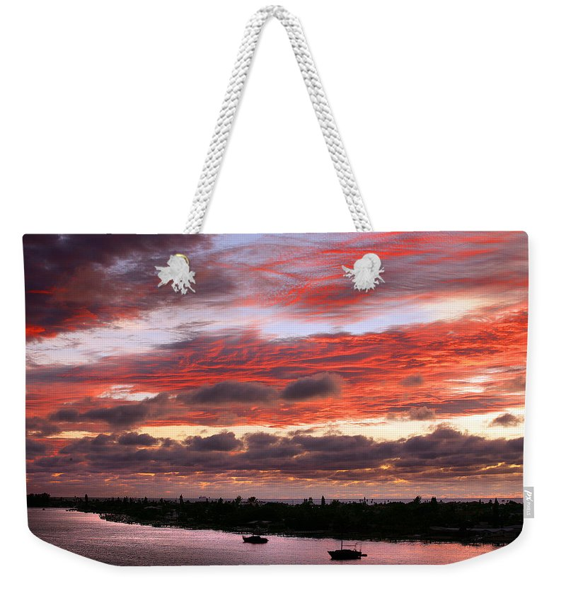 Sun Weekender Tote Bag featuring the photograph Sunset At Pass A Grille Florida by Mal Bray
