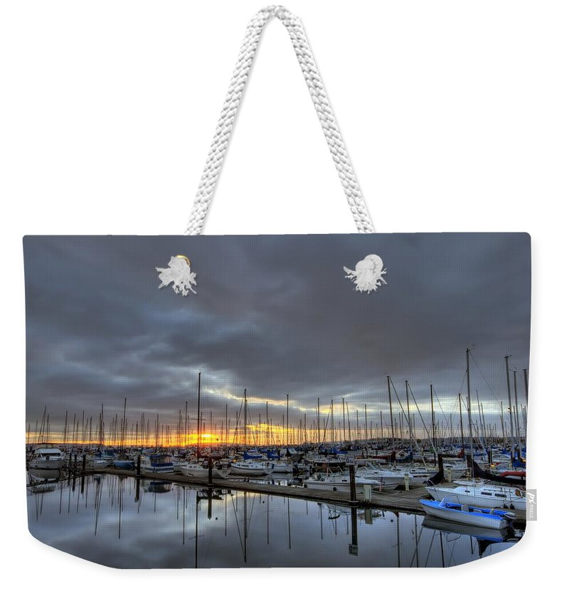 Hdr Weekender Tote Bag featuring the photograph Sunset At Port Gardner by Brad Granger