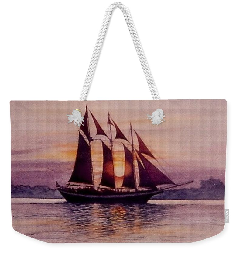 Ship Weekender Tote Bag featuring the mixed media Sunset At Sea by Constance Drescher
