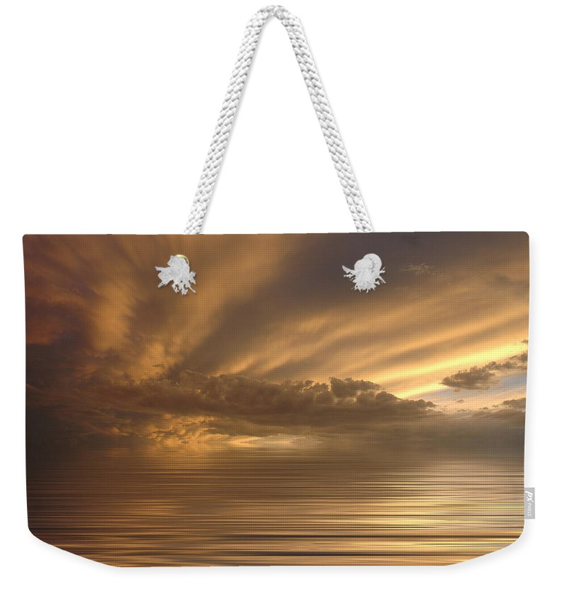Sunset Weekender Tote Bag featuring the photograph Sunset At Sea by Jerry McElroy