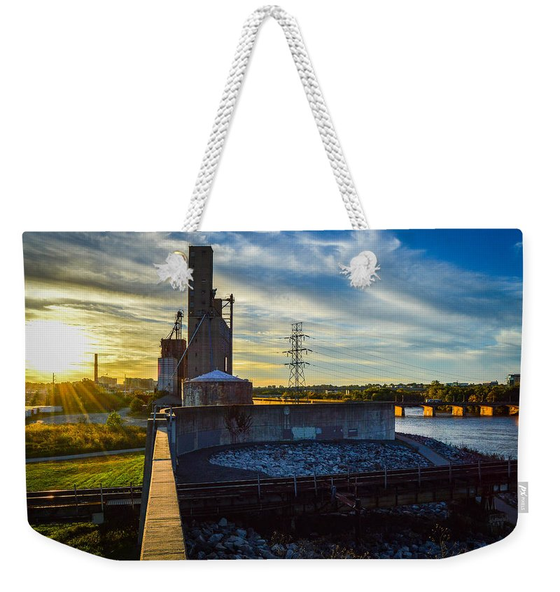 Sunset Weekender Tote Bag featuring the photograph Sunset At The Flood Wall by Aaron Dishner