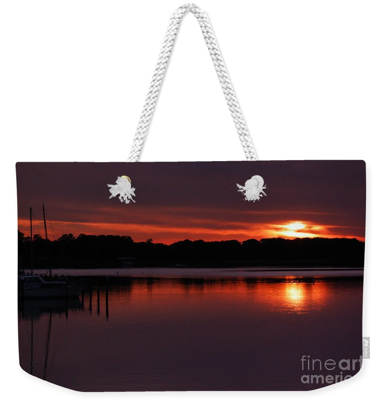 Clay Weekender Tote Bag featuring the photograph Sunset At The Marina by Clayton Bruster
