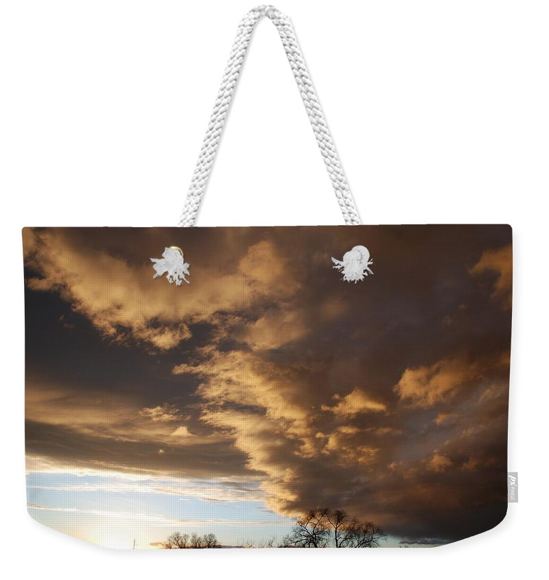 Sunset Weekender Tote Bag featuring the photograph Sunset At The New Mexico State Capital by Rob Hans