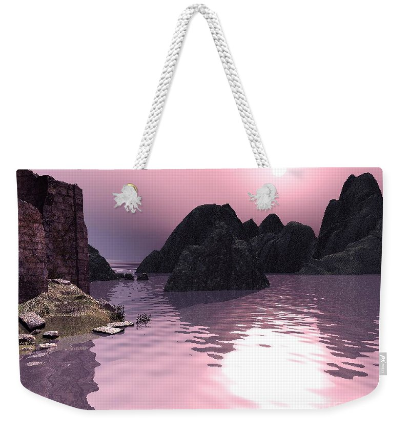 Sunset Weekender Tote Bag featuring the digital art Sunset At The Ocean by John Junek