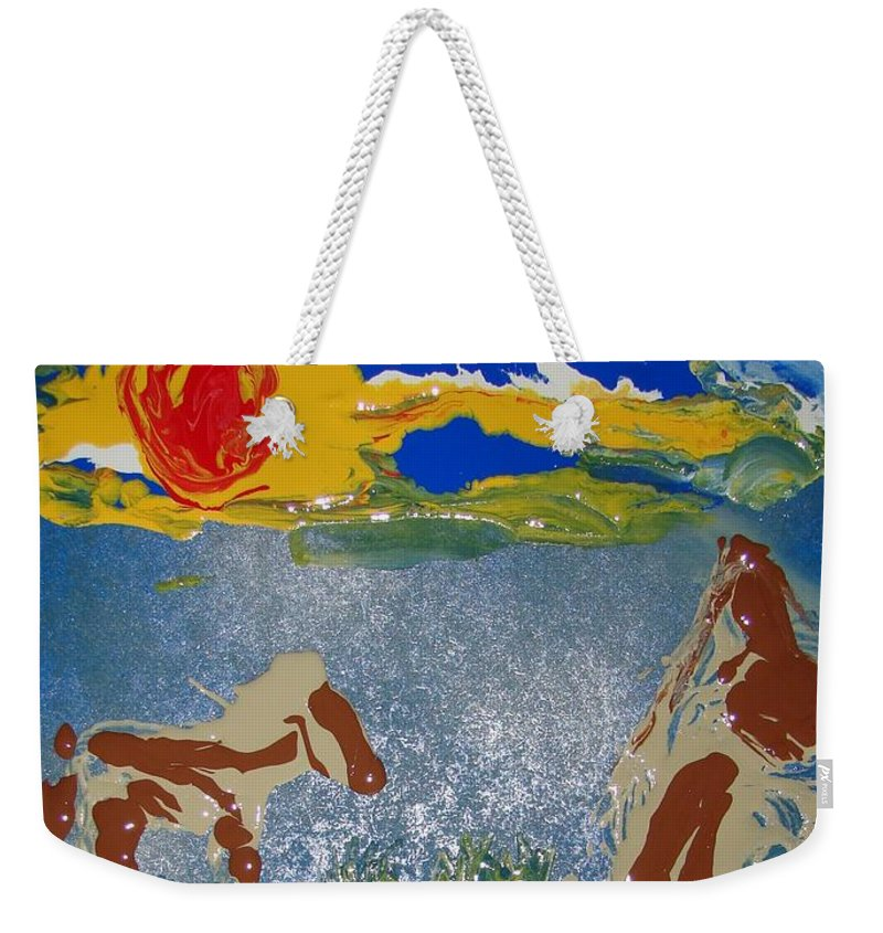 Impressionism Weekender Tote Bag featuring the painting Sunset At The Watering Hole by J R Seymour