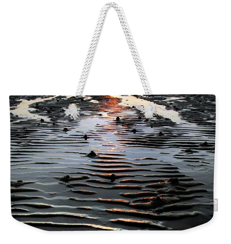 Sunset Weekender Tote Bag featuring the photograph Sunset At The West Shore Llandudno by Mal Bray