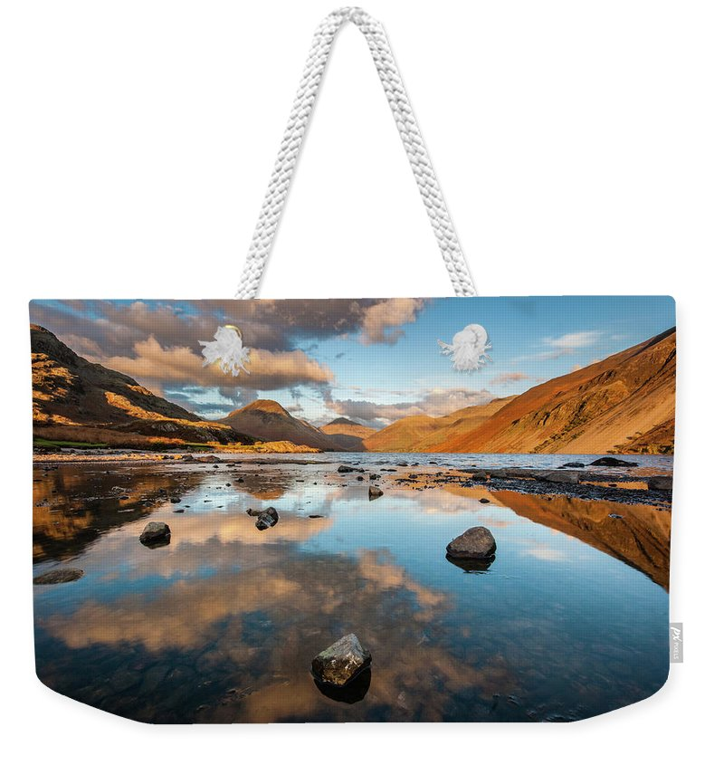 Sunrise Weekender Tote Bag featuring the photograph Sunset at Wast Water #3, Wasdale, Lake District, England by Anthony Lawlor
