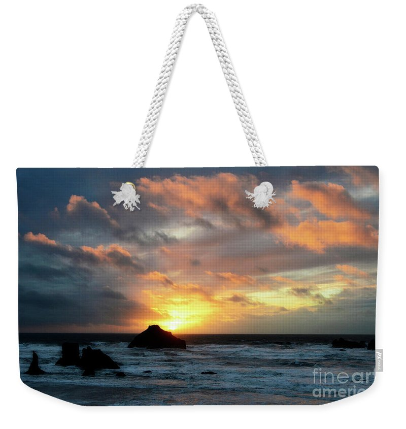 Sunset Weekender Tote Bag featuring the photograph Sunset Bandon By The Sea by Bob Christopher