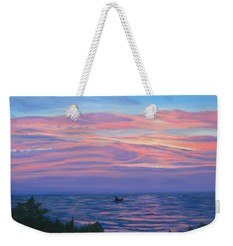 Seascape Weekender Tote Bag featuring the painting Sunset Bay by Lea Novak