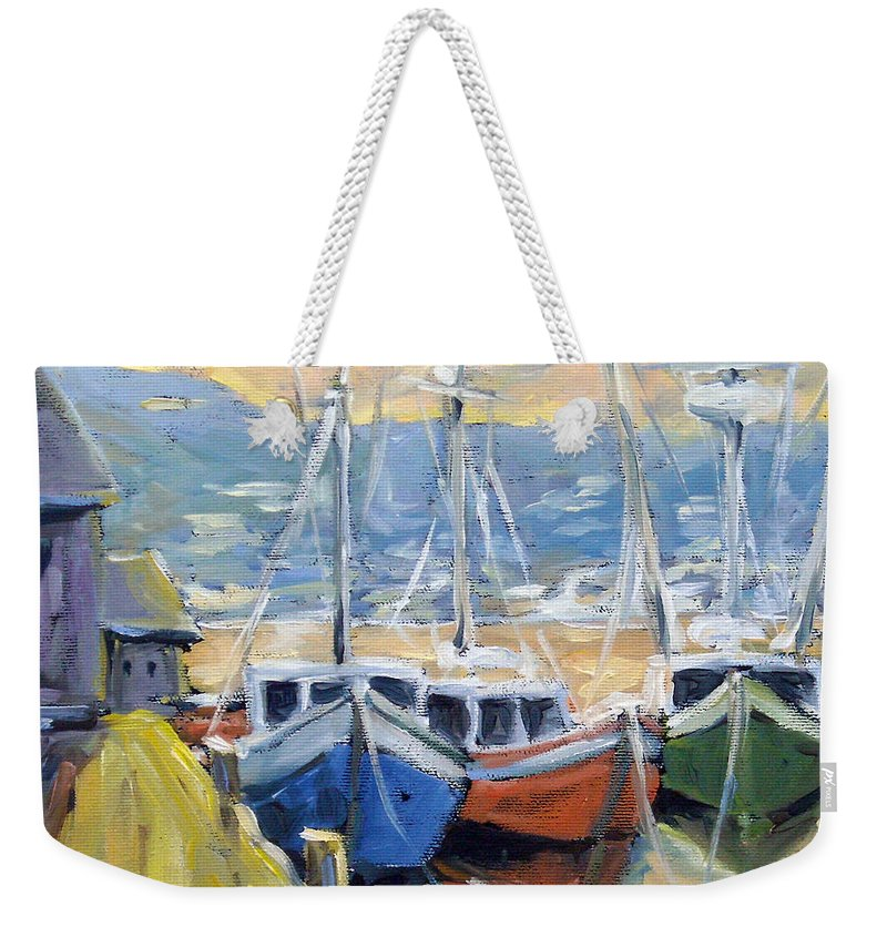 Sea Weekender Tote Bag featuring the painting Sunset Bay by Richard T Pranke