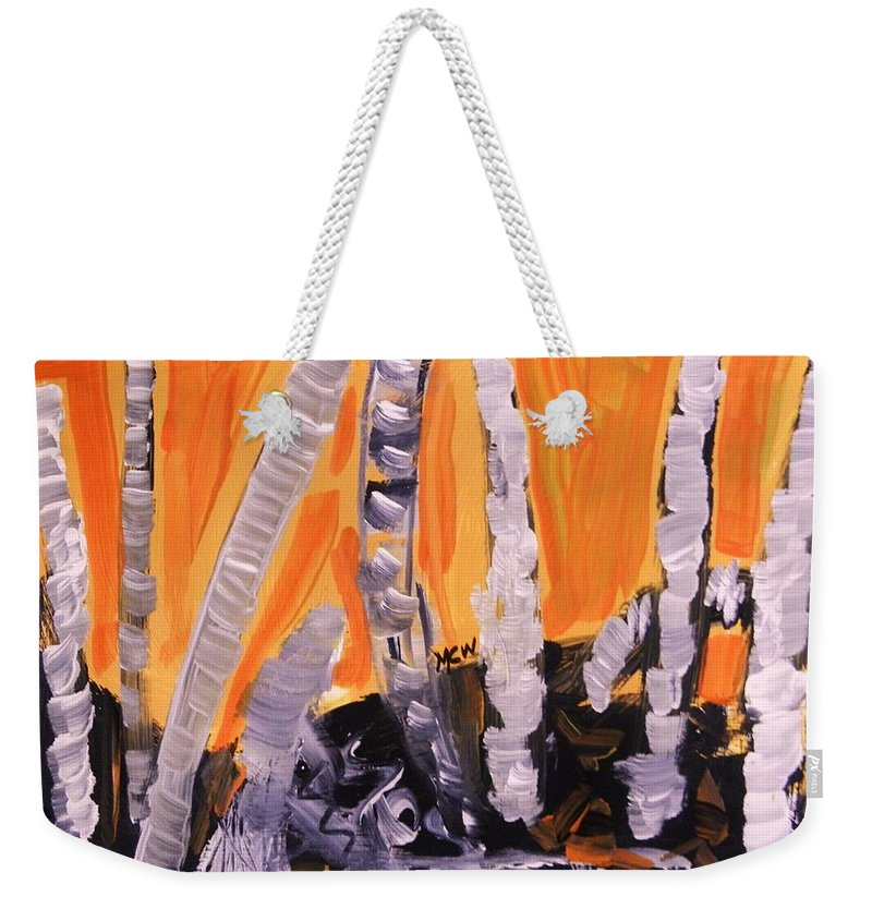 Landscape Weekender Tote Bag featuring the painting Sunset Birches by Mary Carol Williams