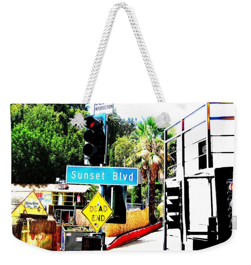 Stoplight On Sunset Blvd Weekender Tote Bag featuring the digital art Sunset Blvd by Maria Kobalyan