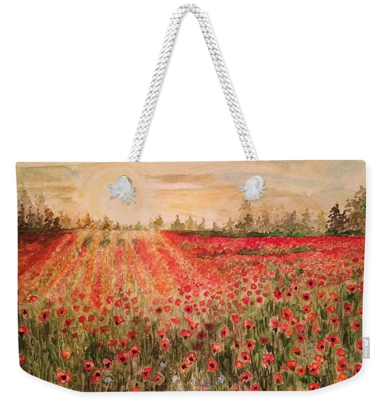 Landscape Weekender Tote Bag featuring the painting Sunset By The Poppy Fields by Vinaya Kini