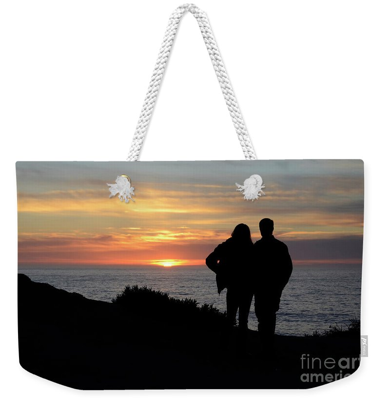 Sunset Weekender Tote Bag featuring the photograph Sunset California Coast by Bob Christopher