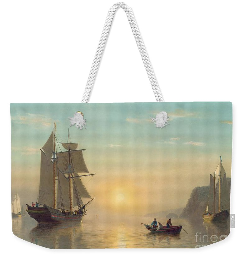 Boat Weekender Tote Bag featuring the painting Sunset Calm in the Bay of Fundy by William Bradford