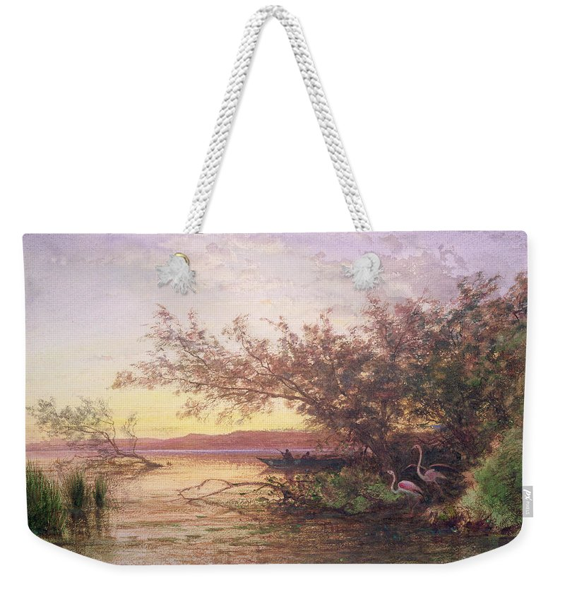 Flamingo Weekender Tote Bag featuring the painting Sunset, Camargue by Felix Ziem