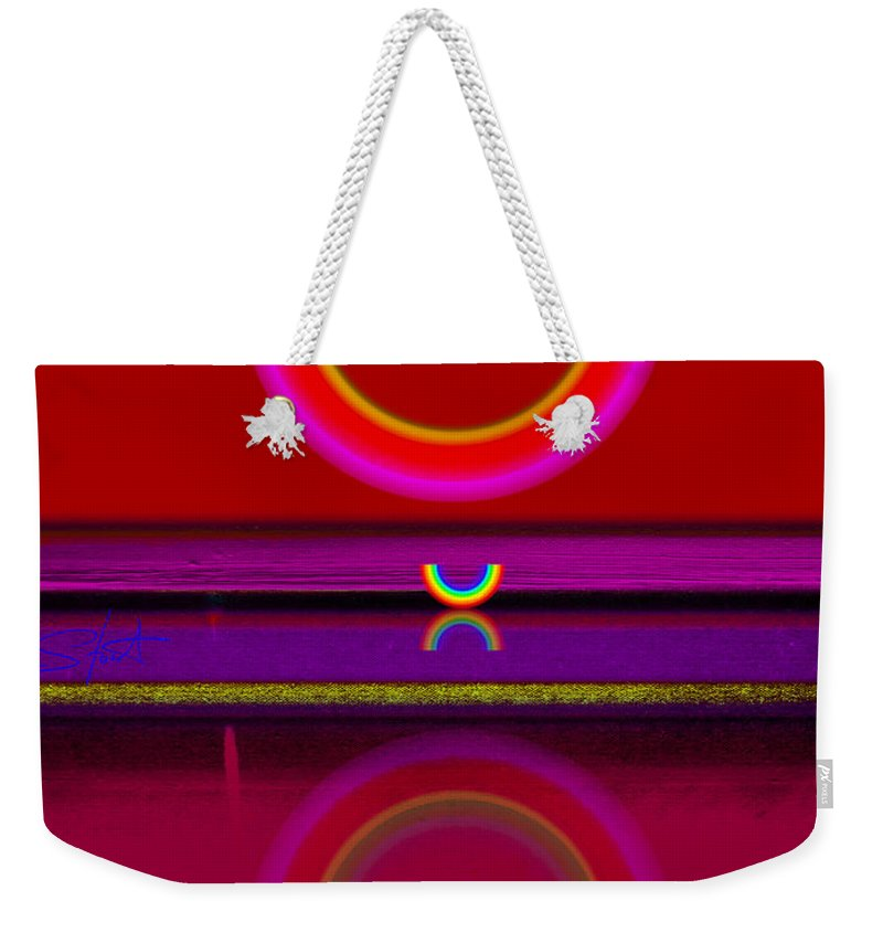Red Weekender Tote Bag featuring the painting Sunset by Charles Stuart