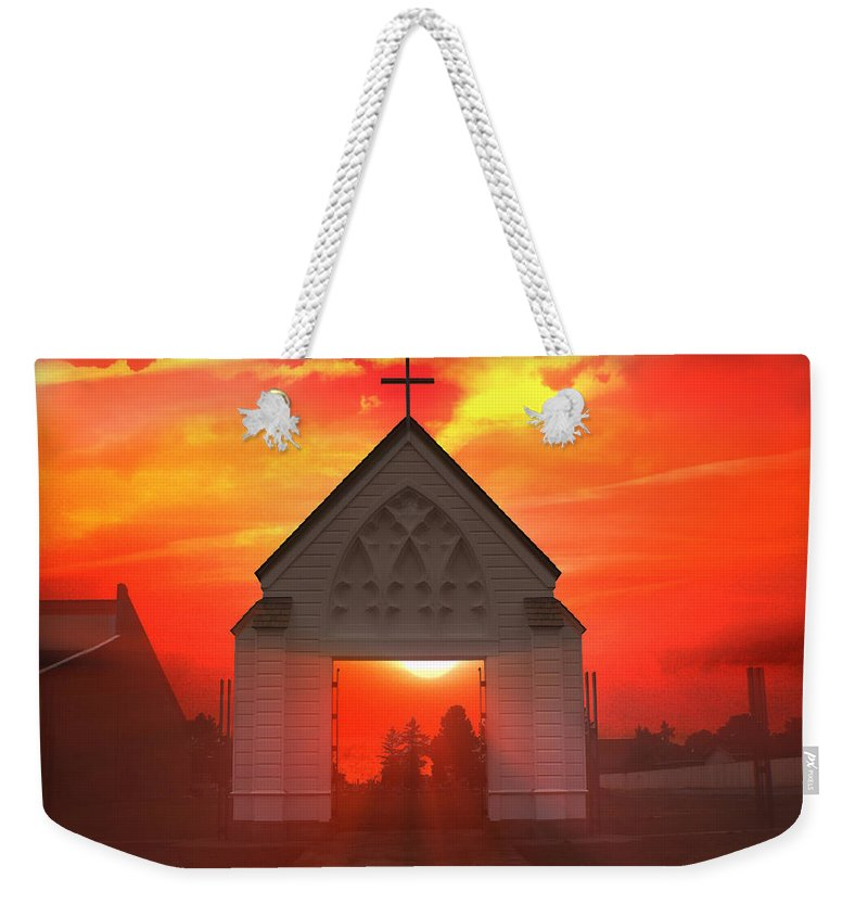 Sunrise Weekender Tote Bag featuring the photograph Sunset Church by Gravityx9  Designs