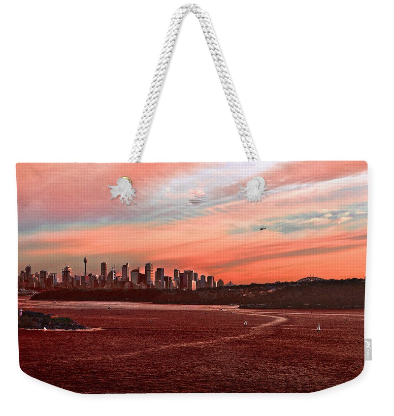 Sydney Weekender Tote Bag featuring the photograph Sunset City by Miroslava Jurcik