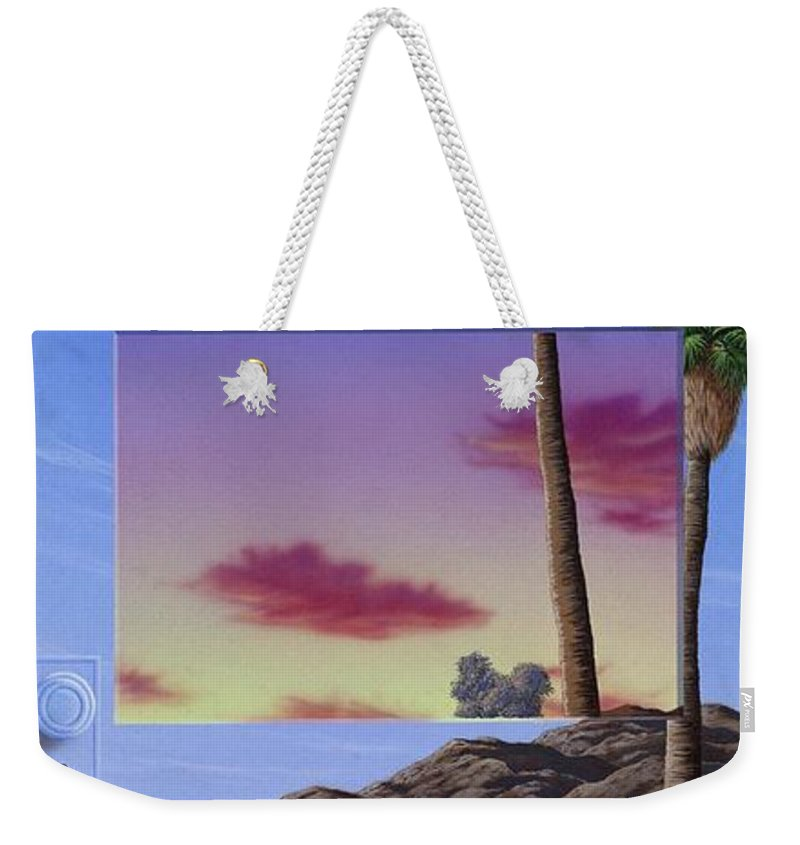Landscape Weekender Tote Bag featuring the painting Sunset Door by Snake Jagger