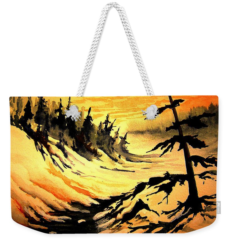 Sunset Extreme Weekender Tote Bag featuring the painting Sunset Extreme by Joanne Smoley