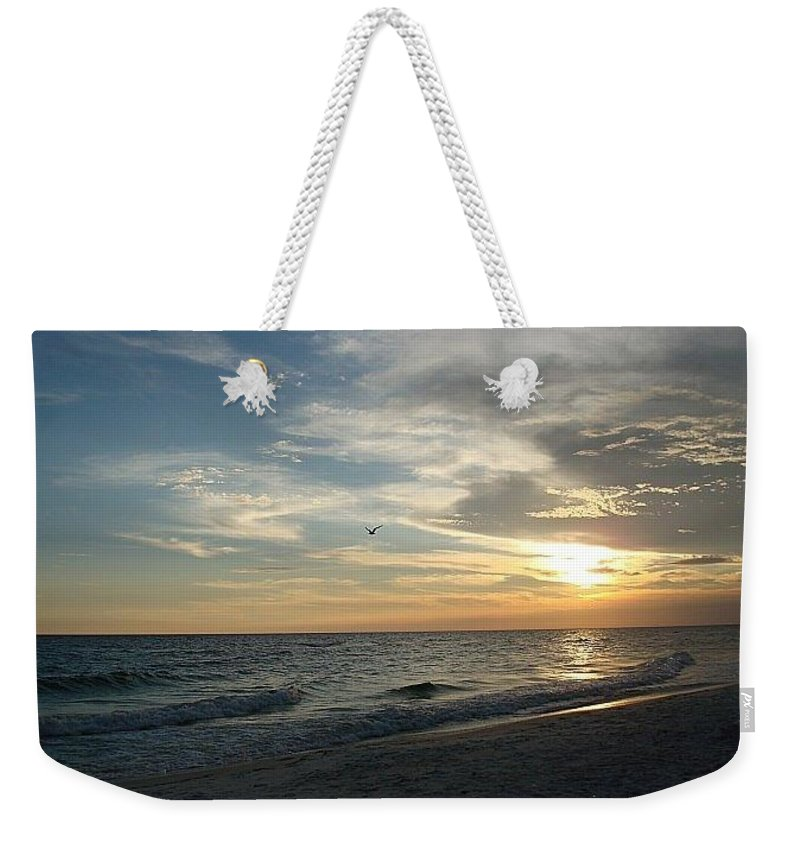 Beach Weekender Tote Bag featuring the photograph Sunset Flight by Inspired Arts